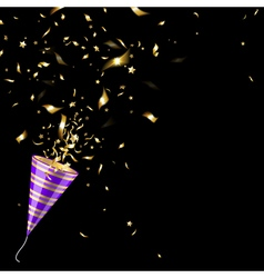 Party Popper with Gold Confetti vector image