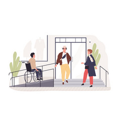 Person on wheel chair moving to accessible vector
