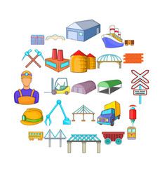 physical labor icons set cartoon style vector image