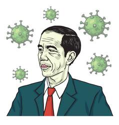 President jokowi joko widodo vs coronavirus vector