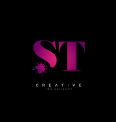 Purple pink st s t letter logo design with ink vector