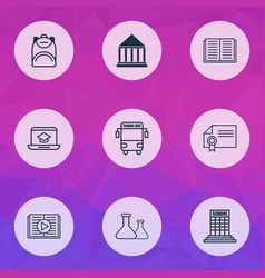 school icons set with audio book certificate vector image