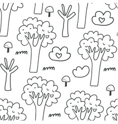 seamless pattern with trees bushes mushrooms vector image