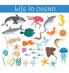 set cartoon sea animals fish life in ocean vector image