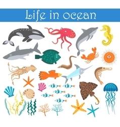 Set cartoon sea animals fish life in ocean vector