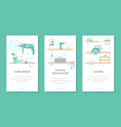 set electric power tools cards vector image