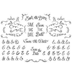 set hand drawnf rustic decorative swirls vector image