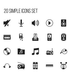 Set of 20 editable multimedia icons includes vector