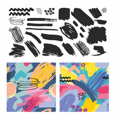 set seamless patterns with brush strokes vector image
