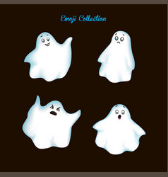 set vintage emoji ghost vector image