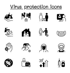 Set virus protection icons contains such icons vector