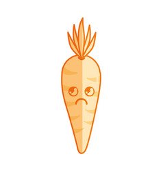 silhouette kawaii cute thinking carrot vegetable vector image