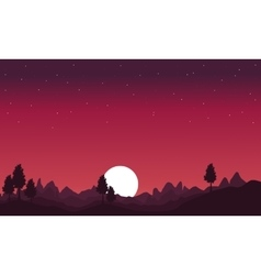 Silhouette of hill with moon scenery vector image