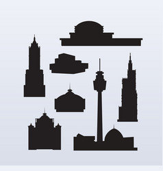 silhouettes high-rise skyscrapers vector image