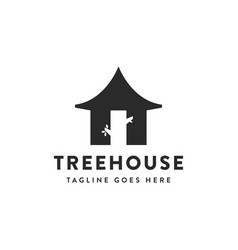 simple tree house logo icon with tree as door vector image