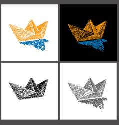 sketch a paper boat vector image