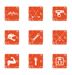 sport race icons set grunge style vector image