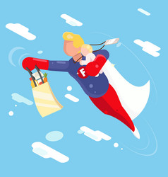 super hero modern father flying sky clowds child vector image