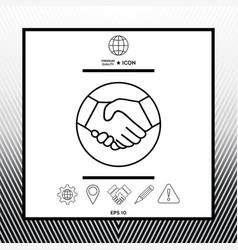 Symbol of handshake in circle line icon vector