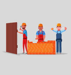team of builders is working vector image