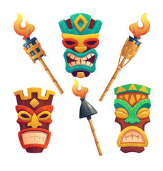 Tiki masks hawaiian tribal totem and torches vector