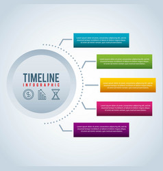 timeline infographic bar graph business vector image