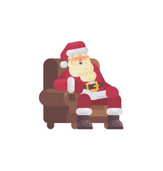 Tired santa claus sleeping in an armchair after vector