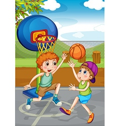 Two boys playing basketball outside vector