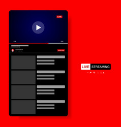 Video player template design mockup live stream vector