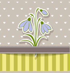 vintage card with bunch snowdrops vector image