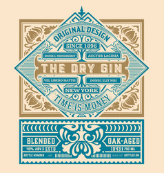 Vintage gin label for packing gold and white vector