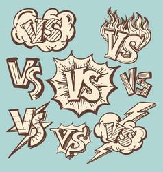 vintage versus confrontation signs collection vector image