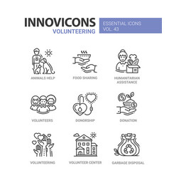 volunteering - modern line icons set vector image
