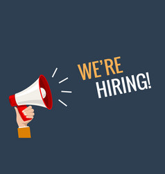 We hiring now banner job offer background vector