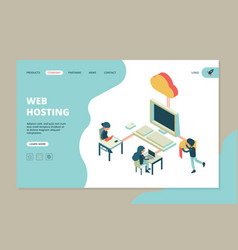 web hosting landing business web page computer vector image