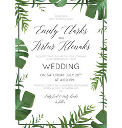 Wedding tropical greenery floralinvite card vector