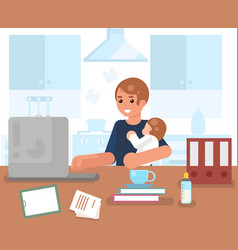 Working man with child home room interior vector