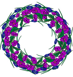 Wreath of purple sakura flowers and blue spring vector