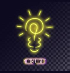 yellow neon lightbulb icon vector image