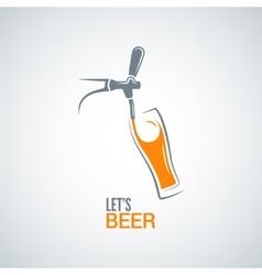 beer tap glass design background vector image vector image