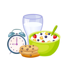 Breakfast meal with milk cereals and clock set vector