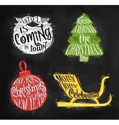 Christmas silhouettes ball chalk vector image vector image