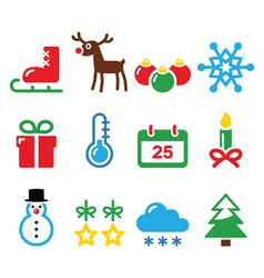 Christmas winter icons set vector image
