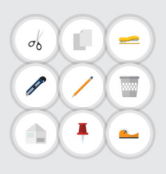 Flat icon stationery set of supplies letter vector