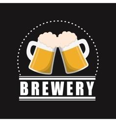 mugs beer brewery poster black background vector image