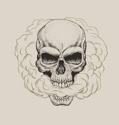 skull breathes the smoke vector image