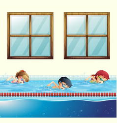 three kids swimming in the pool vector image