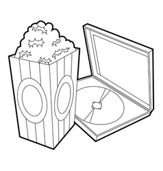 big popcorn icon outline style vector image vector image