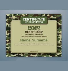 Boot camp internship program certificate template vector