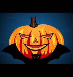 halloween pumpkin on flying bat vector image vector image